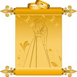 Bride and groom's silhouette. Royalty Free Stock Images