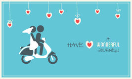 Bride and Groom on Scooter. Wedding Card stock illustration