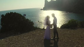 Bride and groom at the sea stock footage
