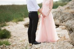 Bride and groom. On the sea beach Royalty Free Stock Photo