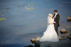 Bride and groom by the sea. Wedding: bride and groom by the sea Royalty Free Stock Photos