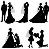The bride and groom. Set. Collection. The black silhouette of bride and groom on a white background. Vector illustration Royalty Free Stock Photography