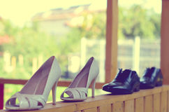 Bride and groom shoes Royalty Free Stock Images