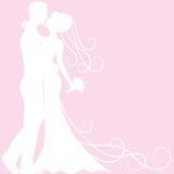 Bride and groom silhouette. Wedding invitation card with bride and groom silhouette Stock Photos
