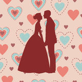 Bride and Groom Silhouette - Illustration. Silhouette of a bride and groom on the background of hearts Stock Images