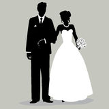 Bride and Groom Silhouette - Illustration. Silhouette of a bride and groom black and white Stock Photography