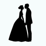Bride and Groom Silhouette - Illustration Royalty Free Stock Photos