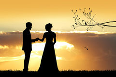 Bride and groom silhouette at sunset. Illustration of bride and groom at sunset Stock Photo
