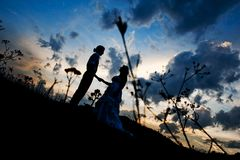 Bride and groom silhouette Stock Photo