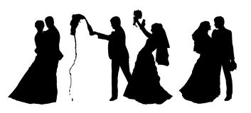 Bride and groom silhouettes set 5 Royalty Free Stock Photography