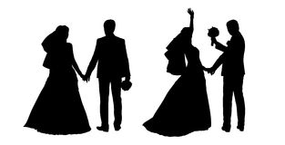 Bride and groom silhouettes set 4. Black silhouettes of bride and groom together holding their hands, back view Royalty Free Stock Photos
