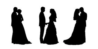Bride and groom silhouettes set 1. Black silhouettes of bride and groom together in various postures, profile views Royalty Free Stock Image