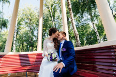 The bride and groom sit on bench Royalty Free Stock Images