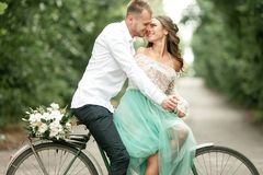 Bride and groom sit on bicycle on forest road, embrace and smile Stock Image