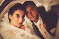 Bride and groom sitting in car Royalty Free Stock Photo