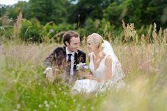 Bride and groom sitting in a meadow Stock Photo