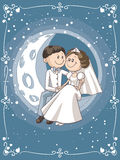 Bride and Groom Sitting on the Moon Vector Cartoon Stock Photo