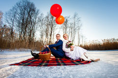 Bride and groom are sitting on the plaid Royalty Free Stock Images