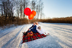 Bride and groom are sitting on the plaid Stock Photography
