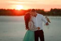Bride and groom with small owl in hands are standing, huging and kissing on background of sunset. Bride and groom with small owl in hands are standing, huging royalty free stock photography