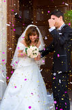 Bride and groom smiling royalty free stock photography