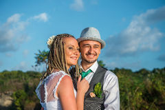 Bride and groom smiling Stock Photos