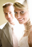 Bride and groom, smiling, portrait, close-up Stock Images