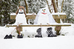 Bride and groom snowmen Royalty Free Stock Photography