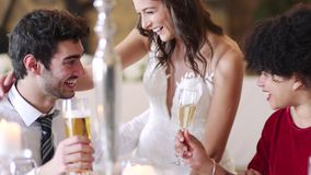 Couple Socialising At Their Wedding. Bride and groom socialising with their guests at their wedding reception stock footage