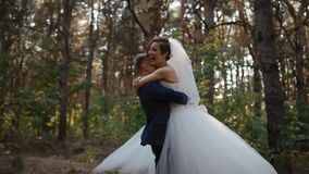Bride and groom spinning in wedding dance stock video