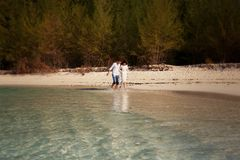 Bride and groom  splash at sea edge against trees Royalty Free Stock Images