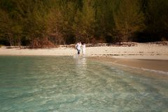bride and groom splash at sea edge against trees Stock Photos