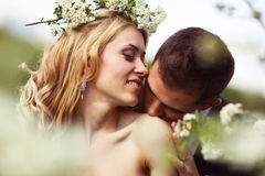 Bride and groom in springtime Royalty Free Stock Photo