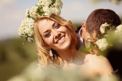 Bride and groom in springtime Royalty Free Stock Image