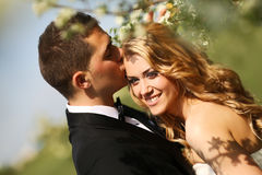 Bride and groom in springtime Stock Image