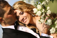 Bride and groom in springtime Royalty Free Stock Photos