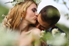 Bride and groom in springtime Stock Photo