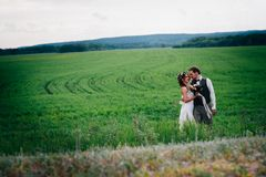 Bride and groom stand on the background of the field Royalty Free Stock Photos