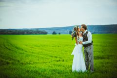 Bride and groom stand on the background of the field Stock Photography