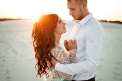 Bride and groom stand in desert on sunset, smile and embrace. Cl Stock Photography