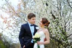 Bride and groom stand near a flowering tree in spring garden.  Royalty Free Stock Images