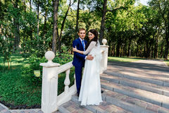 The bride and groom stand on the stairs in the park. The bridegroom embraces the bride. Wedding couple in love at wedd day Royalty Free Stock Image