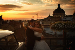 Bride and groom stand in thr front of a great cityscape and unde Royalty Free Stock Photo