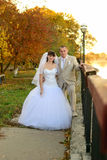 The bride and groom standing on autumn mall. Newly-married couple on the autumn avenue. Embankment Royalty Free Stock Photography