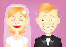 Bride and groom. Bride standing beside a hesitating groom Royalty Free Stock Photos