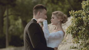 Bride and groom standing near a stone wall in the stock video
