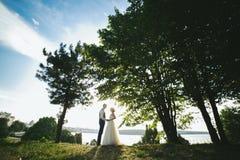 Bride groom standing in the park Stock Photos