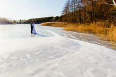Bride and groom are standing at the surface of frozen lake Royalty Free Stock Photos