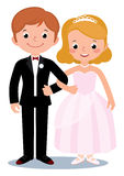 Bride and groom. Stock Vector cartoon illustration of a couple just married bride and groom Stock Images