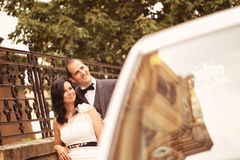 Bride and groom on the street Stock Photo